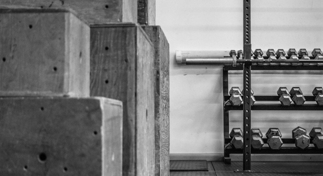 Wooden Boxes and Dumbbells B&W