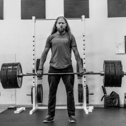 Kevin Wallingford Demonstrating Deadlift B&W