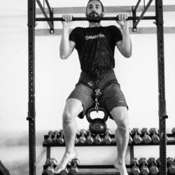 Charlie Manganiello Weighted Pull-Up b&w, Photo by Mei Ratz