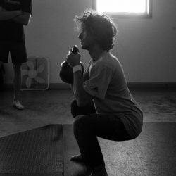 Alex Bridgewater Goblet Squat b&w, Photo by Mei Ratz