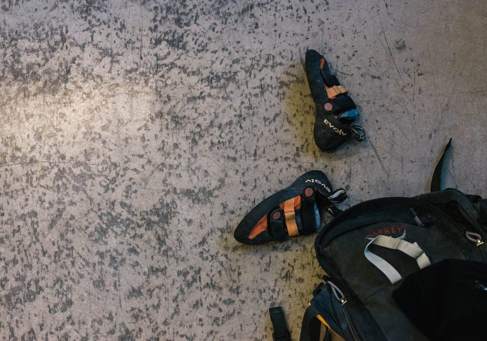 Climbing Shoes and Backpack, Photo by Mei Ratz